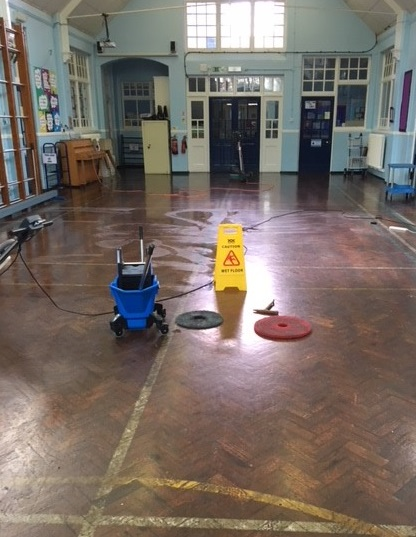 Bournemouth Park Academy, Southend - Hall floor - Before Works