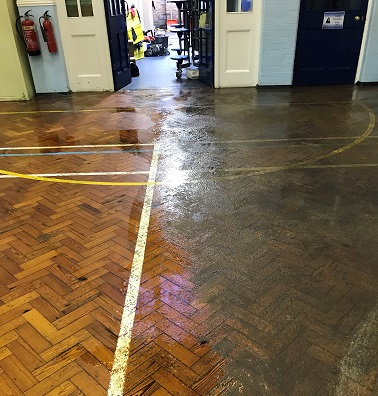 Bournemouth Park Academy, Southend - Hall floor - Halfway Point of Clean